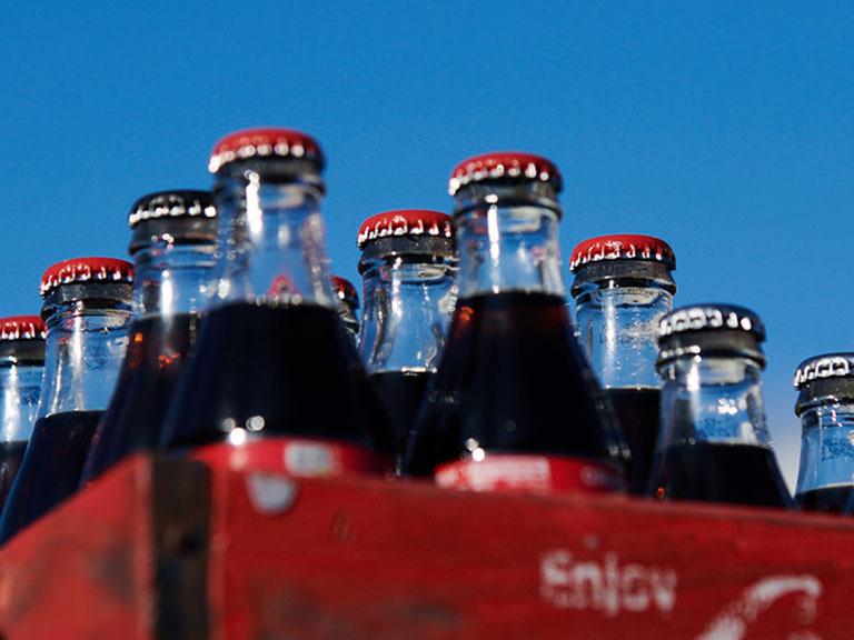 case of Coca-Cola glass bottles